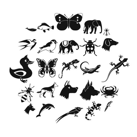 Animal kingdom icons set. Simple set of 25 animal kingdom icons for web isolated on white background 스톡 콘텐츠 - 124976759
