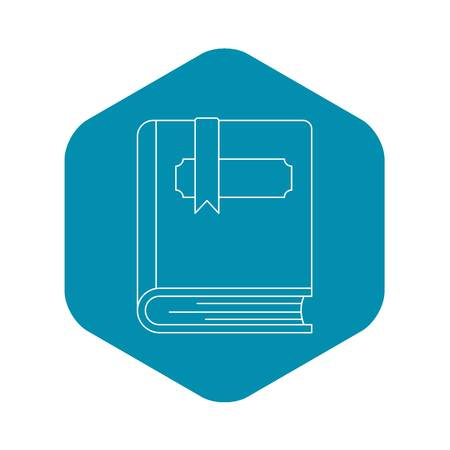 Thick book with bookmark icon. Outline illustration of thick book with bookmark vector icon for web
