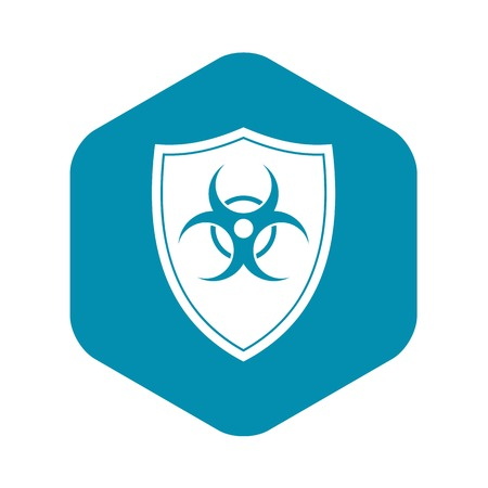Shield with a biohazard sign icon, simple style