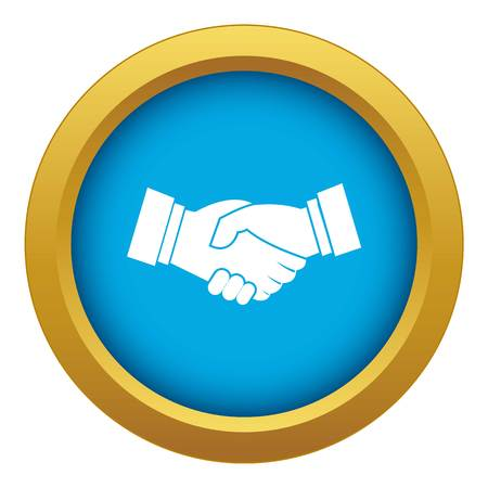 Handshake icon blue vector isolated on white background for any design