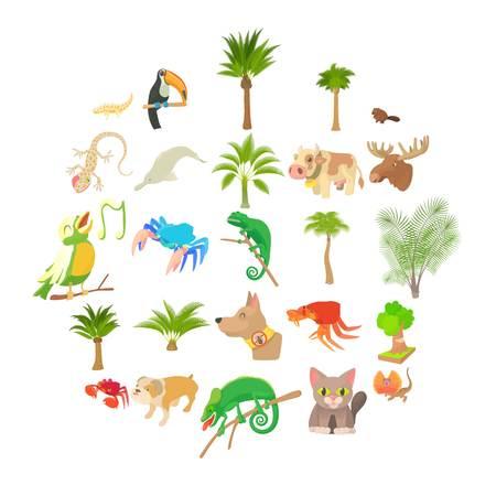 Animal life icons set. Cartoon set of 25 animal life vector icons for web isolated on white background Ilustração