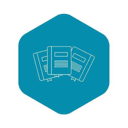 Three books with bookmarks icon. Outline illustration of three books with bookmarks vector icon for web
