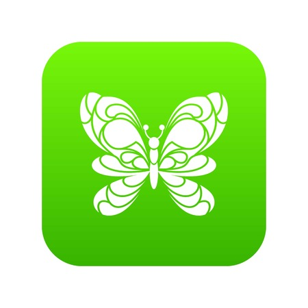 Butterfly with big wings icon green vector isolated on white background Illusztráció