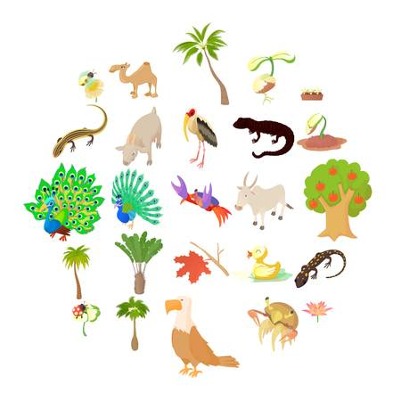 Animals and plants icons set. Cartoon set of 25 animals and plants vector icons for web isolated on white background