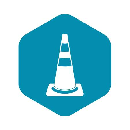 Traffic cone icon in simple style isolated on white background Çizim