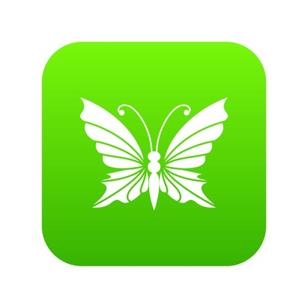 Butterfly with antennae icon green vector isolated on white background Illusztráció
