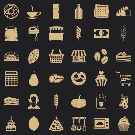 Cook icons set, simple style