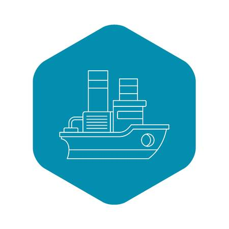 Small ship icon. Outline illustration of small ship vector icon for web