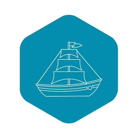 Boat with sails icon. Outline illustration of boat with sails vector icon for web