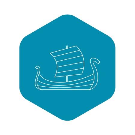 Medieval boat icon. Outline illustration of medieval boat vector icon for web Illustration