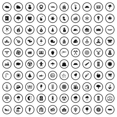 100 lumberjack icons set in simple style for any design vector illustration