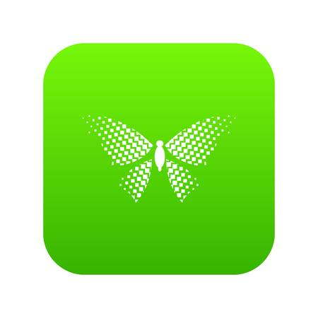 Butterfly with rhombus on wings icon green vector isolated on white background