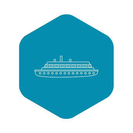 Long ship icon. Outline illustration of long ship vector icon for web
