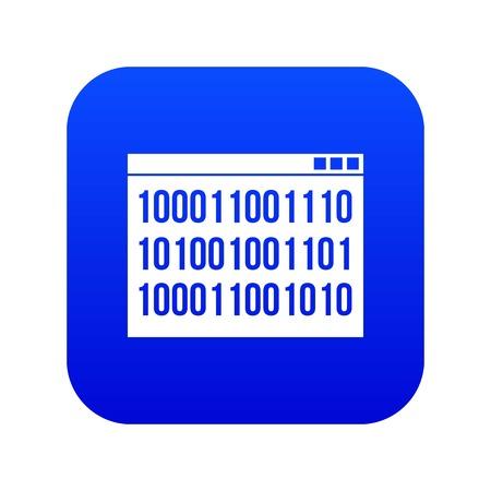 Binary code icon digital blue Illustration