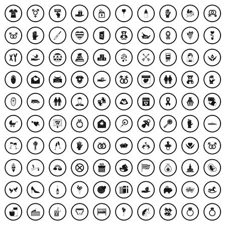 100 love icons set in simple style for any design vector illustration Illustration