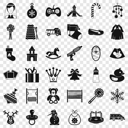 Baby thing icons set, simple style