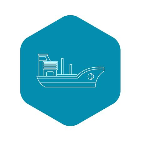 Marine ship icon. Outline illustration of marine ship vector icon for web