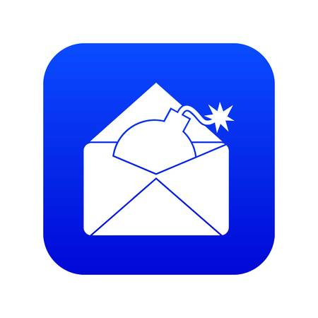 Envelope with bomb icon digital blue