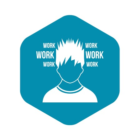 Man and work words icon in simple style isolated on white background