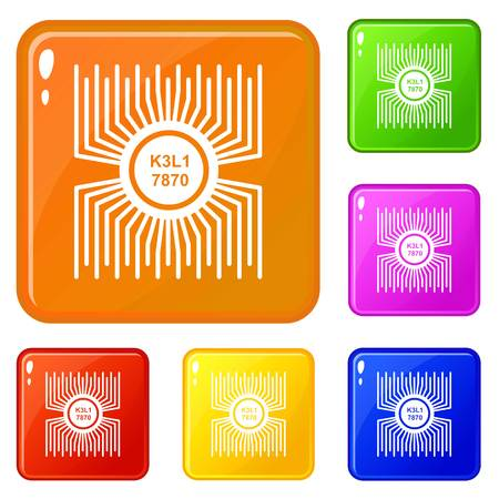 Microprocessor icons set collection vector 6 color isolated on white background