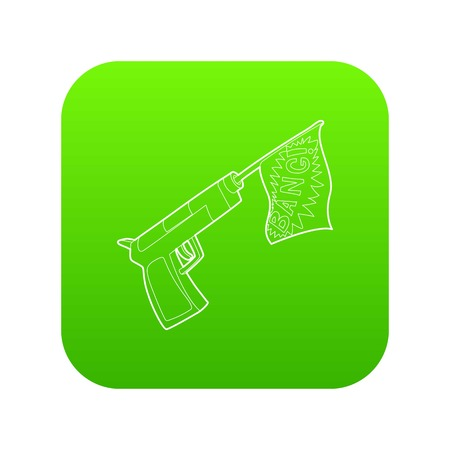 Gun with flag toy icon green vector isolated on white background