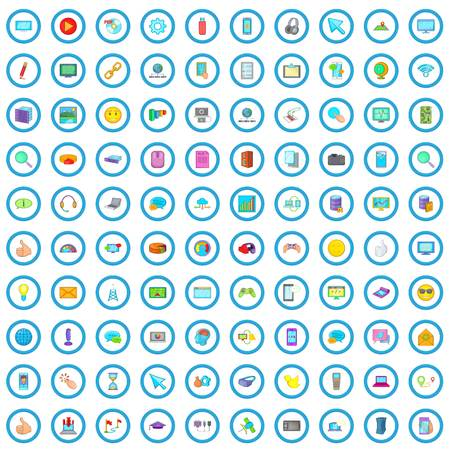 100 computer network icons set in cartoon style for any design vector illustration