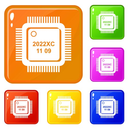 System microchip icons set collection vector 6 color isolated on white background