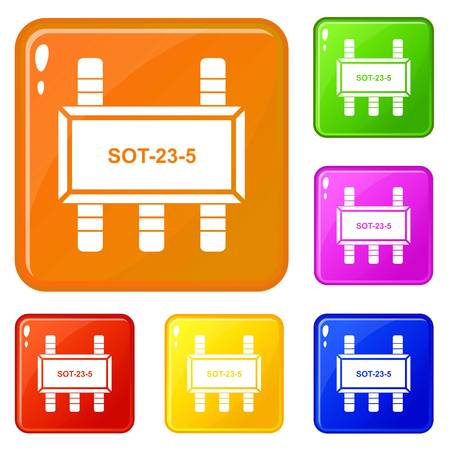 Military microchip icons set collection vector 6 color isolated on white background
