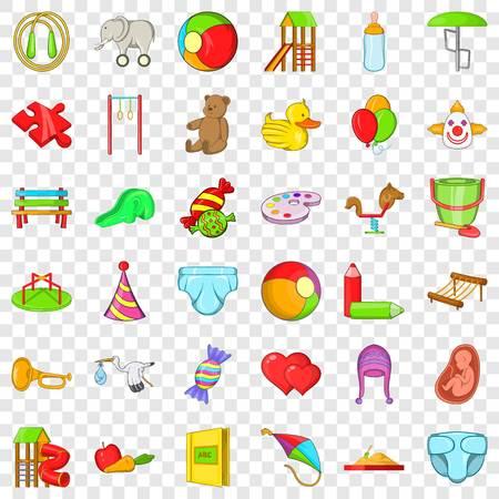 Baby toy icons set, cartoon style