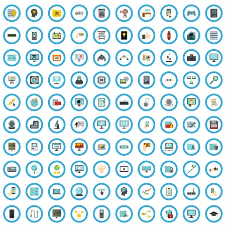 100 computer review icons set in flat style for any design vector illustration Ilustração
