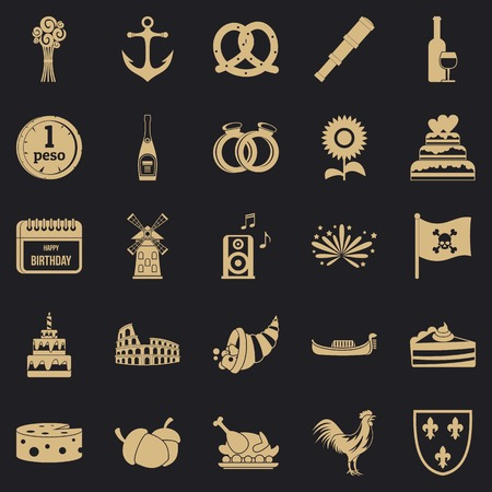 Traveling icons set, simple style