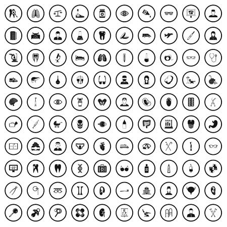 100 medical checkup icons set in simple style for any design vector illustration Ilustracja