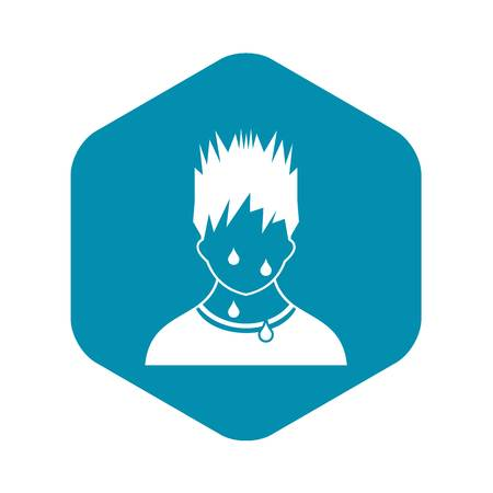 Sweaty man icon in simple style on a white background