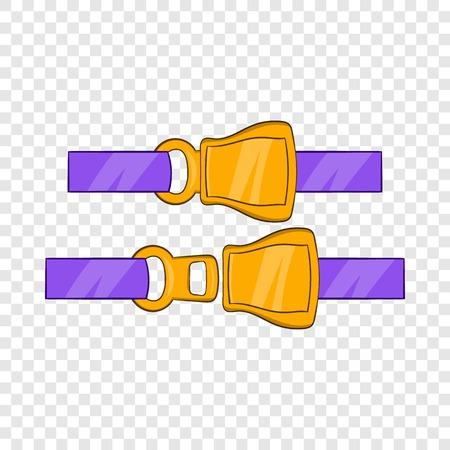 Aviation seat belt icon, cartoon style