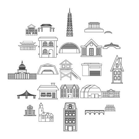 Building icons set. Outline set of 25 building vector icons for web isolated on white background
