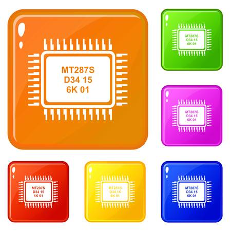 Micro microchip icons set collection vector 6 color isolated on white background