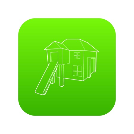 Forest house icon green vector isolated on white background