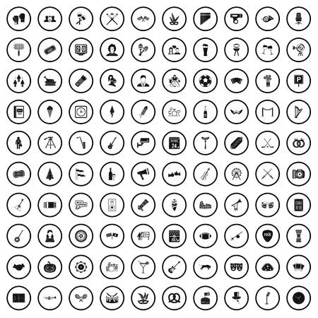 100 meeting icons set in simple style for any design vector illustration Ilustração