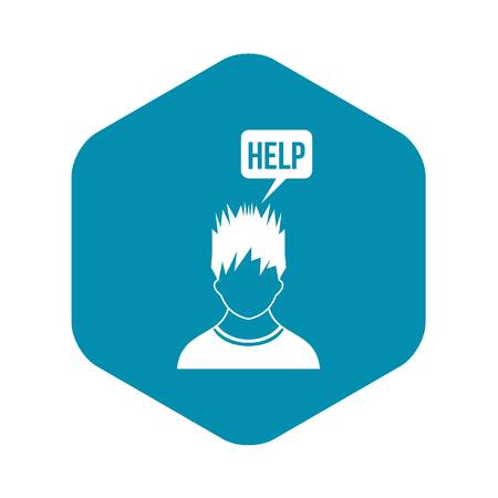 Man needs help icon in simple style isolated on white background Illustration