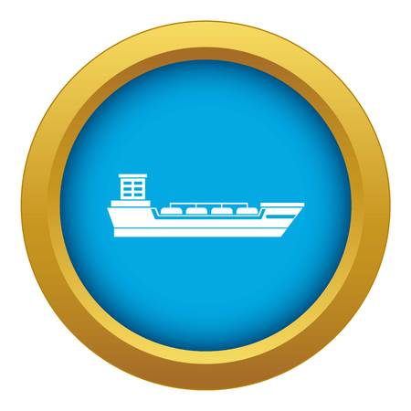 Oil tanker ship icon blue vector isolated