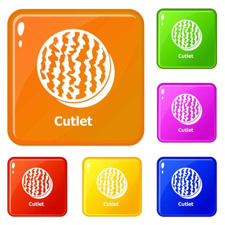 Cutlets icons set collection vector 6 color isolated on white background 向量圖像