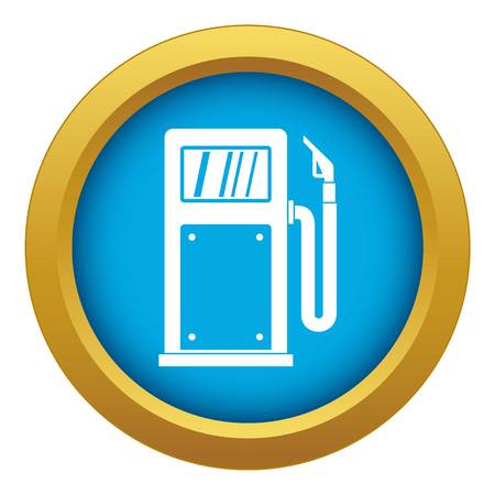 Gasoline pump icon blue vector isolated