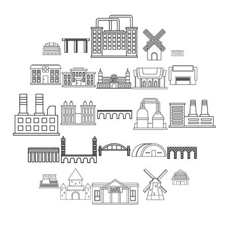 Structure icons set. Outline set of 25 structure vector icons for web isolated on white background Illustration