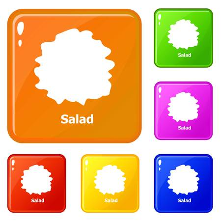 Salad icons set collection vector 6 color isolated on white background 向量圖像