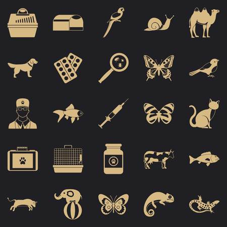 Vet clinic icons set. Simple set of 25 vet clinic icons for web for any design 向量圖像