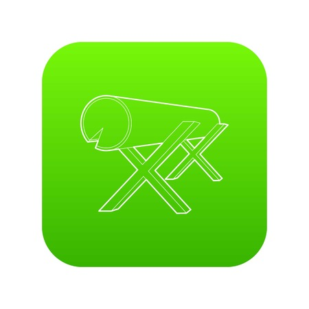 Goats for sawing logs icon green vector isolated on white background