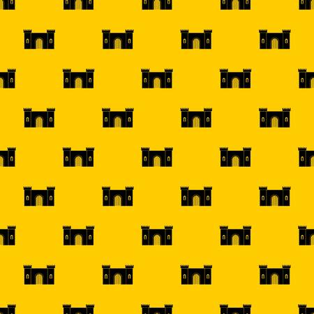 Fortress with gate pattern seamless vector repeat geometric yellow for any design Illusztráció
