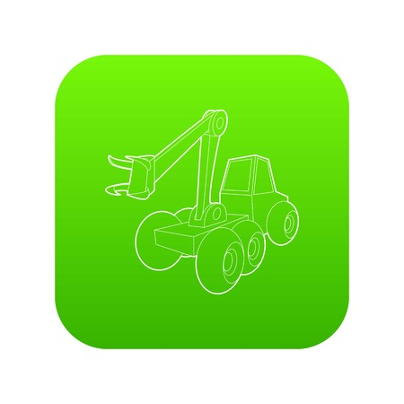 Hydraulic crane icon green vector isolated on white background Ilustrace