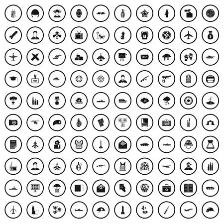 100 military journalist icons set in simple style for any design vector illustration