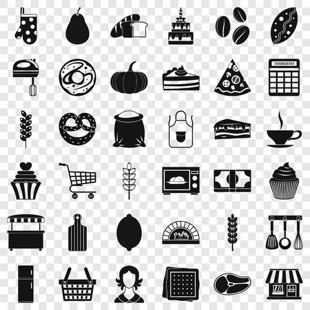 Cook icons set. Simple style of 36 cook vector icons for web for any design Illustration